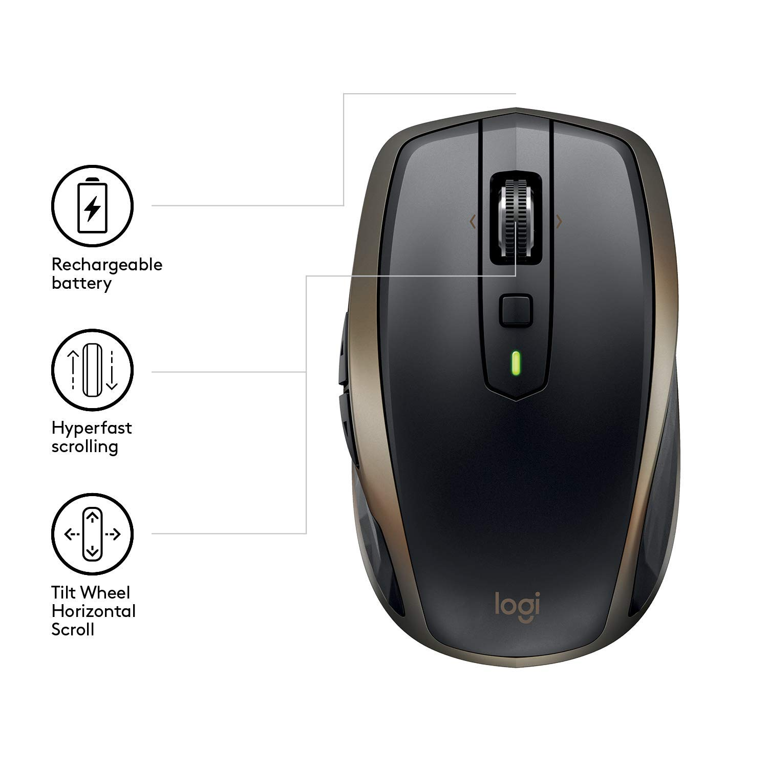 Logitech MX Anywhere 2 AMZ - Wireless Bluetooth Mouse for Windows and Mac -  Black