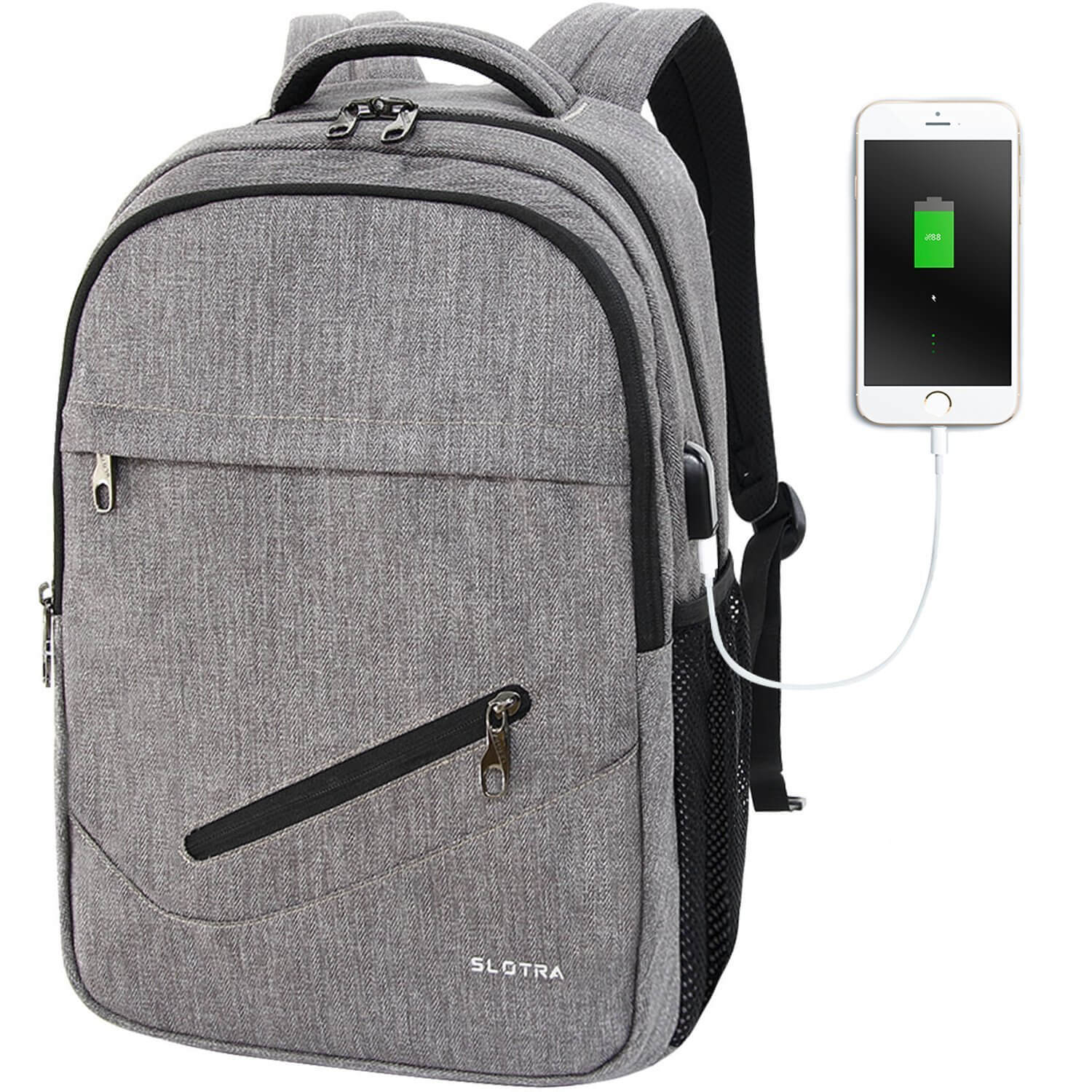 c582048bf4 SLOTRA 15.6 Inch Laptop Backpack with USB Charging Port – Grey – IT ...